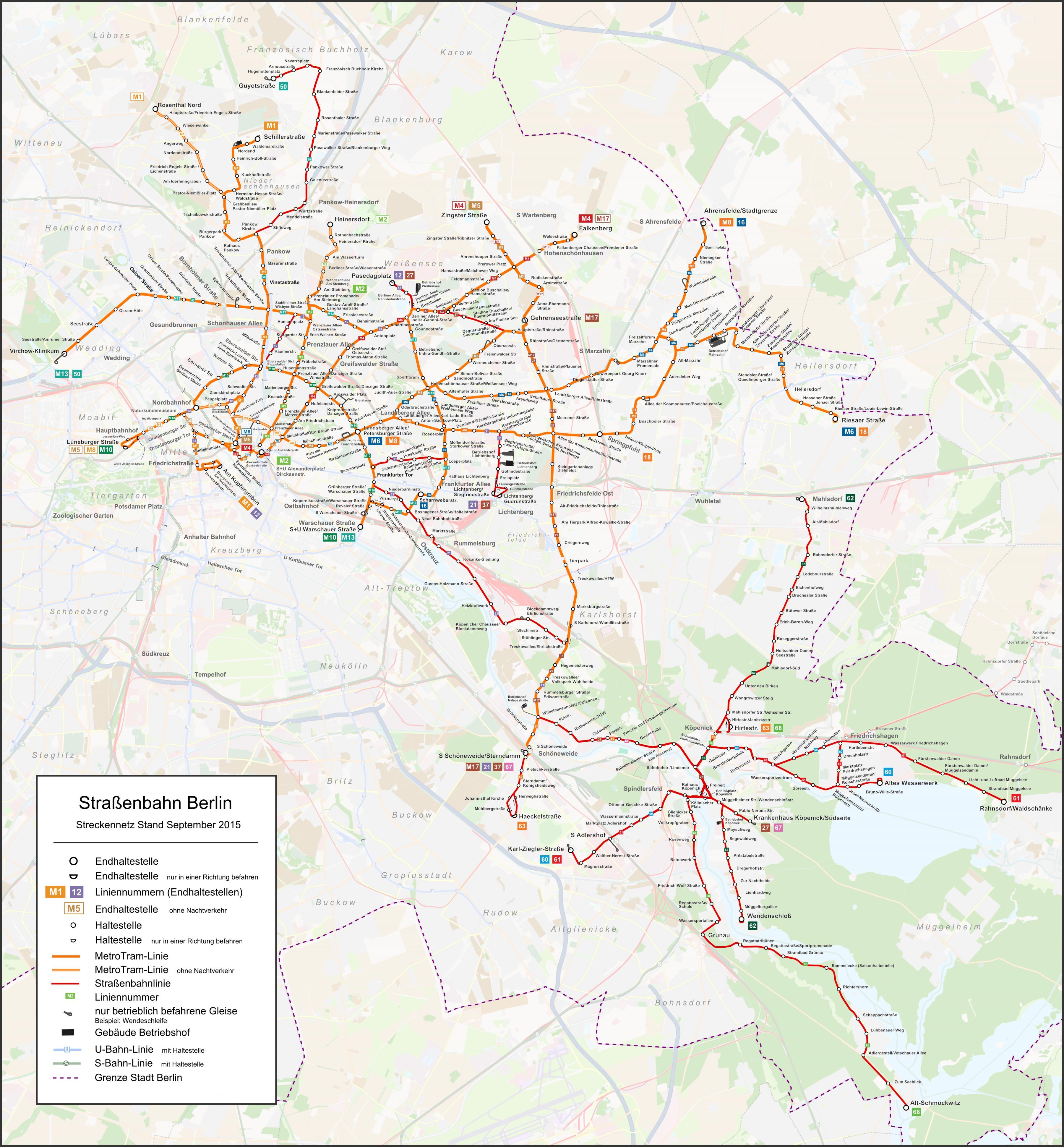 Berlin tram map - Bahn-Karte von berlin (Deutschland)