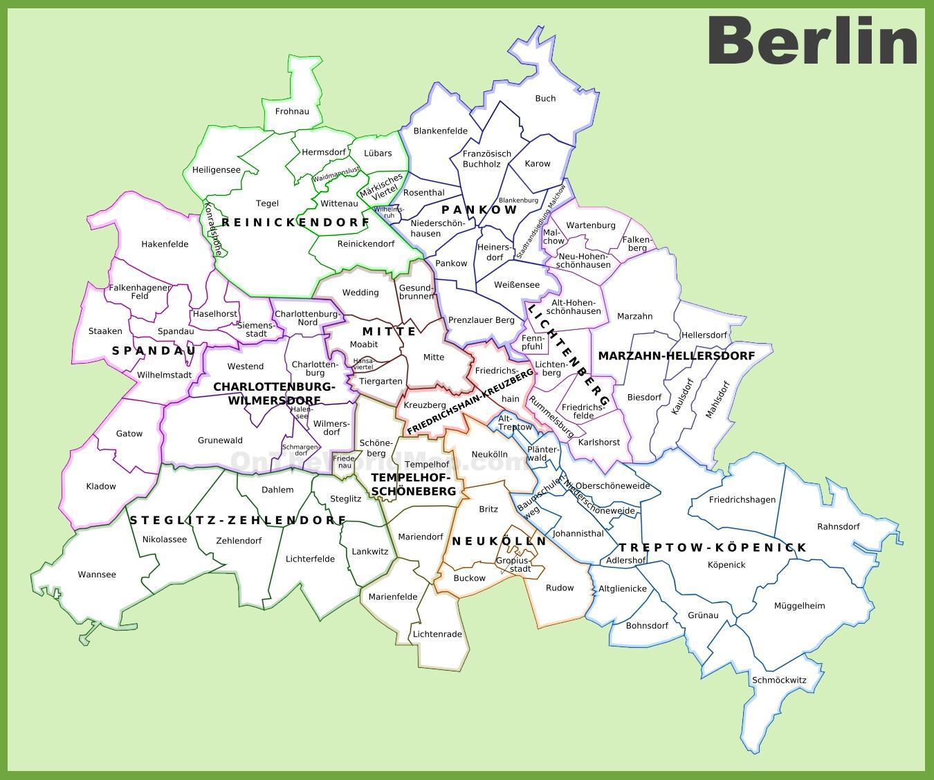 Berlin Mitte Karte.Bezirk Mitte Berlin Karte Berlin Shopping Distrikte Karte