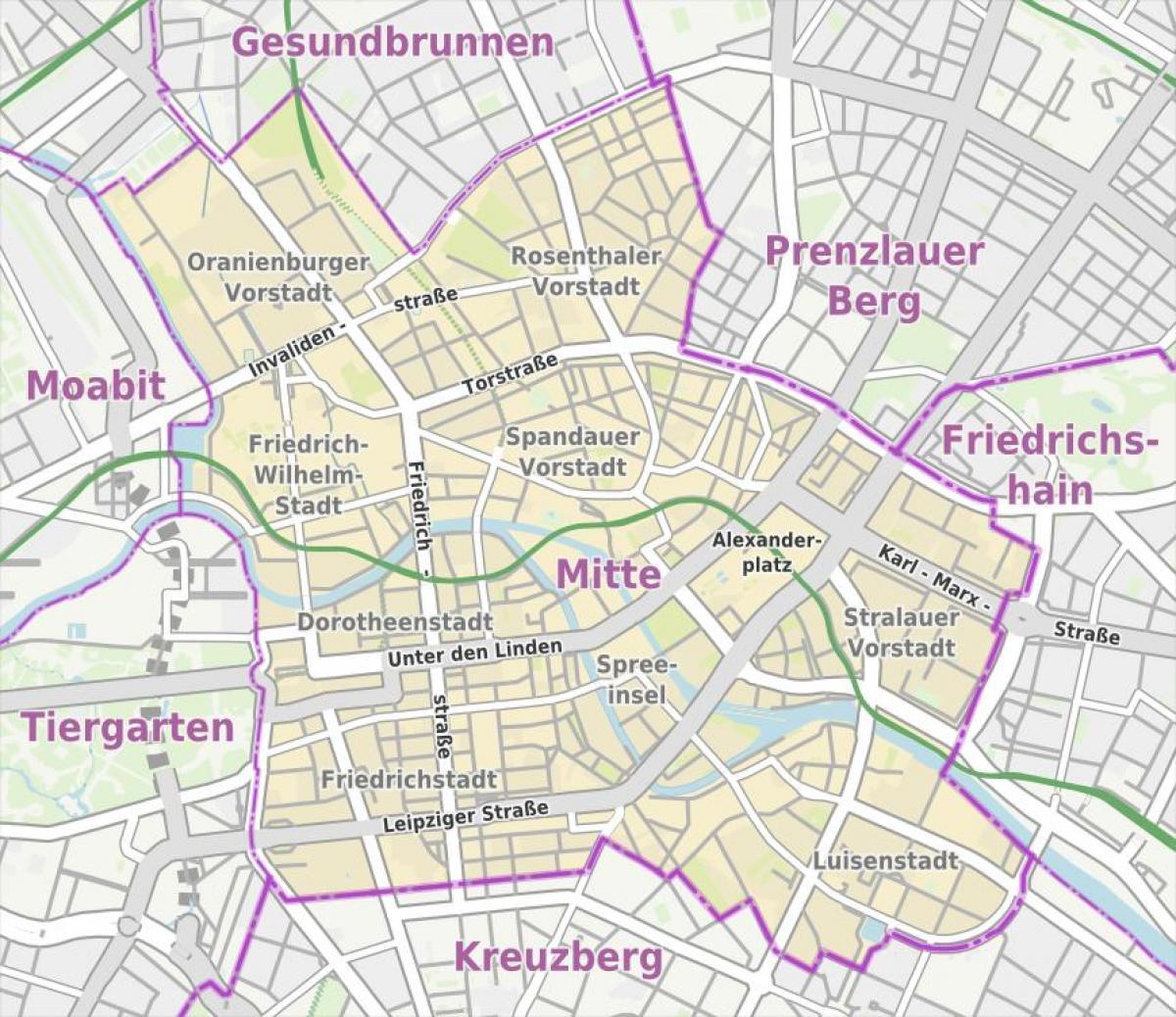 Berlin Mitte Karte.Berlin Mitte Map Mitte Berlin Karte Deutschland